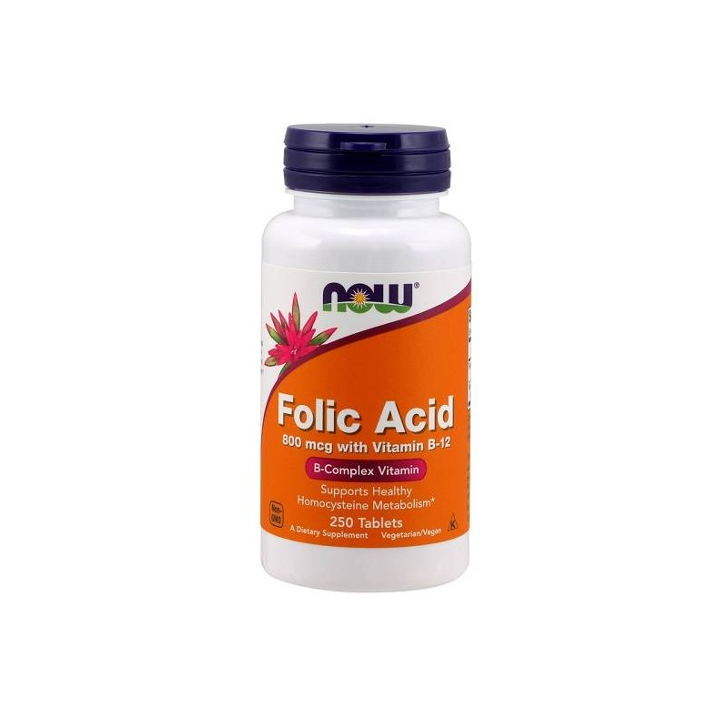 Folic Acid 800 mcg with Vitamin B12 250 tabs